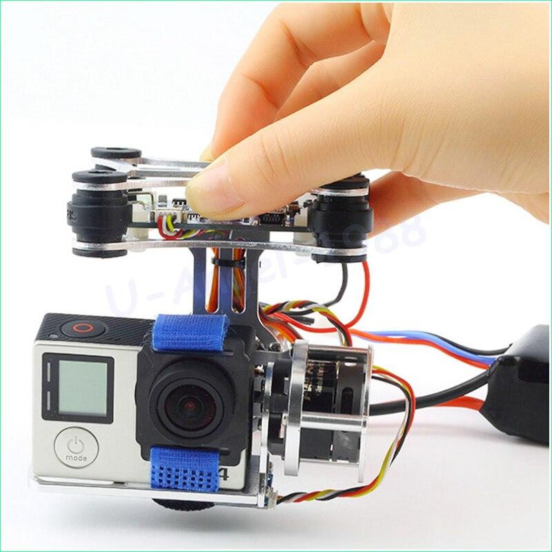 Оптовая продажа 1 шт. супер легкий Бесщеточный Gimbal Камера Рамки + 2 Двигатели + контроллер 160 г для Phantom GoPro 3 4