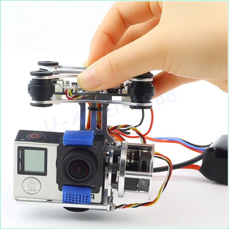 Atacado 1 pcs super leve quadro da câmera + 2 motores brushless cardan controlador + 160g para phantom gopro 3 4