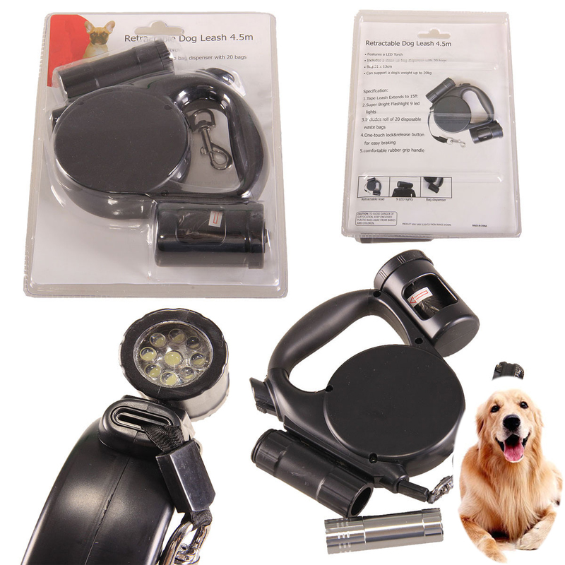 New Pet Dog Leashes LED Multi function Automatic Telescopic Tractor Rope with Light Garbage Bag Portable Dog Pull Pet Supplies in Leashes from Home Garden