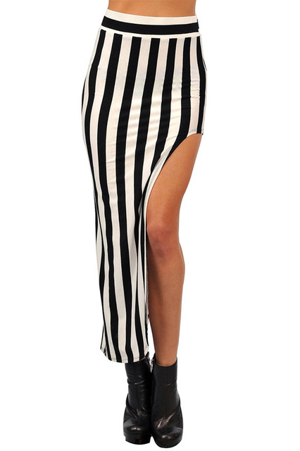 decfa15a8f Fashion Women's skirt street style black and white vertical striped Pencil  skirt sexy split irregular skirt