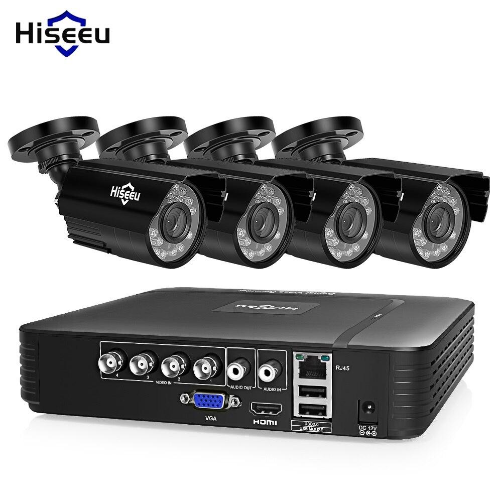 Hiseeu sistema de cámara CCTV 4CH 720 P/1080 P AHD cámara de seguridad DVR Kit CCTV impermeable al aire libre casa Video sistema de Vigilancia HDD