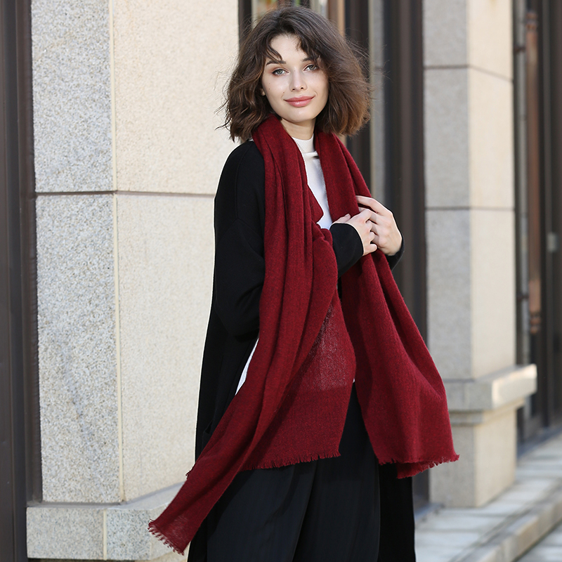 100% yak wool solid color women's fashion boutique big scarfs shawl wild dual-use tassel long cashmere   scarves     wrap