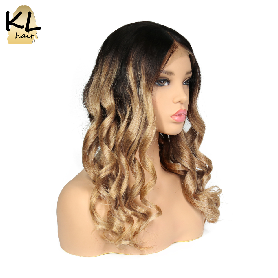 KL Lace Front Human Hair Wigs With Baby Hair Color 1B 27 Brazilian Remy Hair Pre