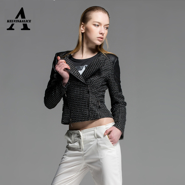 a706f1d9f54 Black Leather Jacket Women Spring Sweet Lapel Plovers Spliced Skinny PU  Faux Leather Biker Jacket MF51508