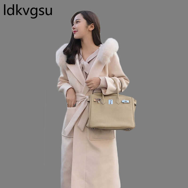 d2ce61627db 2018 New Autumn Winter Plus Velvet Thick Long Over Knee Belt Female  Double-Sided Cashmere Wool Coat Plus Size White Black Is1198