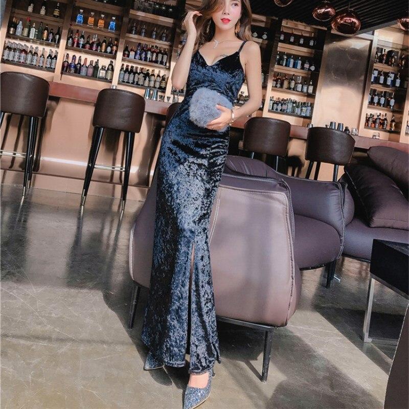 ff80c048c7 MUMUZI 2018 Spring Women s New Fashion velvet long dress solid sleeveless  Sling dress Female Slim sexy papty Dress -in Dresses from Women s Clothing  on ...