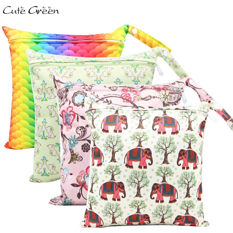 1pc Waterproof PUL Wet Dry Bag Diaper Bags For Baby Cloth Diaper Baby Nappies Diapers Single Snap Zipper Sport Travel Carry Bag