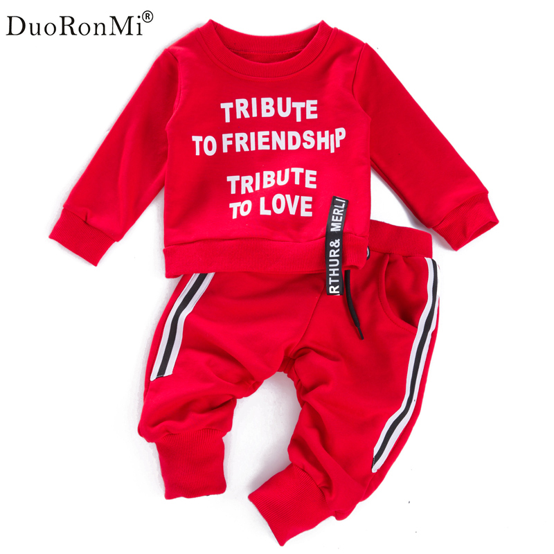 Children Tracksuit Sport Set Sweatshirt Pants 2pcs Kids Boys Baby Autumn Clothes Suit Letter Print Sports Suit Kid Boys Outwear 2017 brand new boys clothing set kids sports suit children tracksuit long shirt pants cowboy sweatshirt casual clothes sets