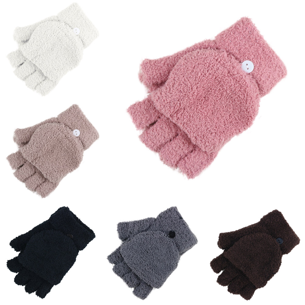 Fashion Women Gloves Coral Velvet Fall Winter Hand Wrist Warmer Mittens Fingerless Ladies Girls Glove Gifts -MX8