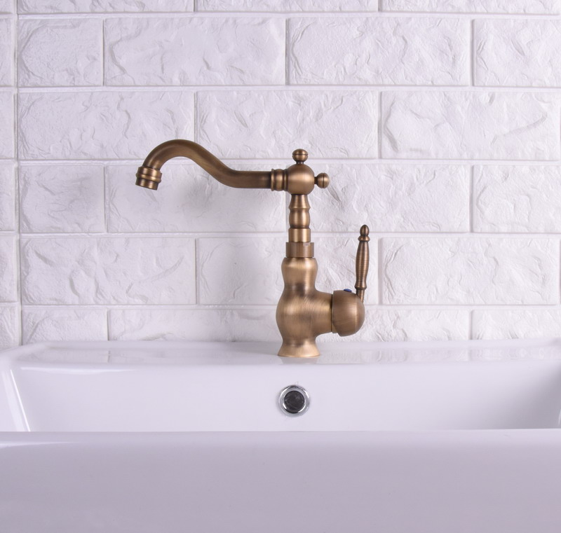 Vintage Retro Antique Brass Single Handle One Hole Bathroom Kitchen Basin Sink Faucet Mixer Tap Swivel Spout Deck Mounted Msf119