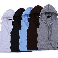 Новое поступление модные для мужчин лето без рукавов на молнии фитнес повседневное жилет с капюшоном верхняя одежда