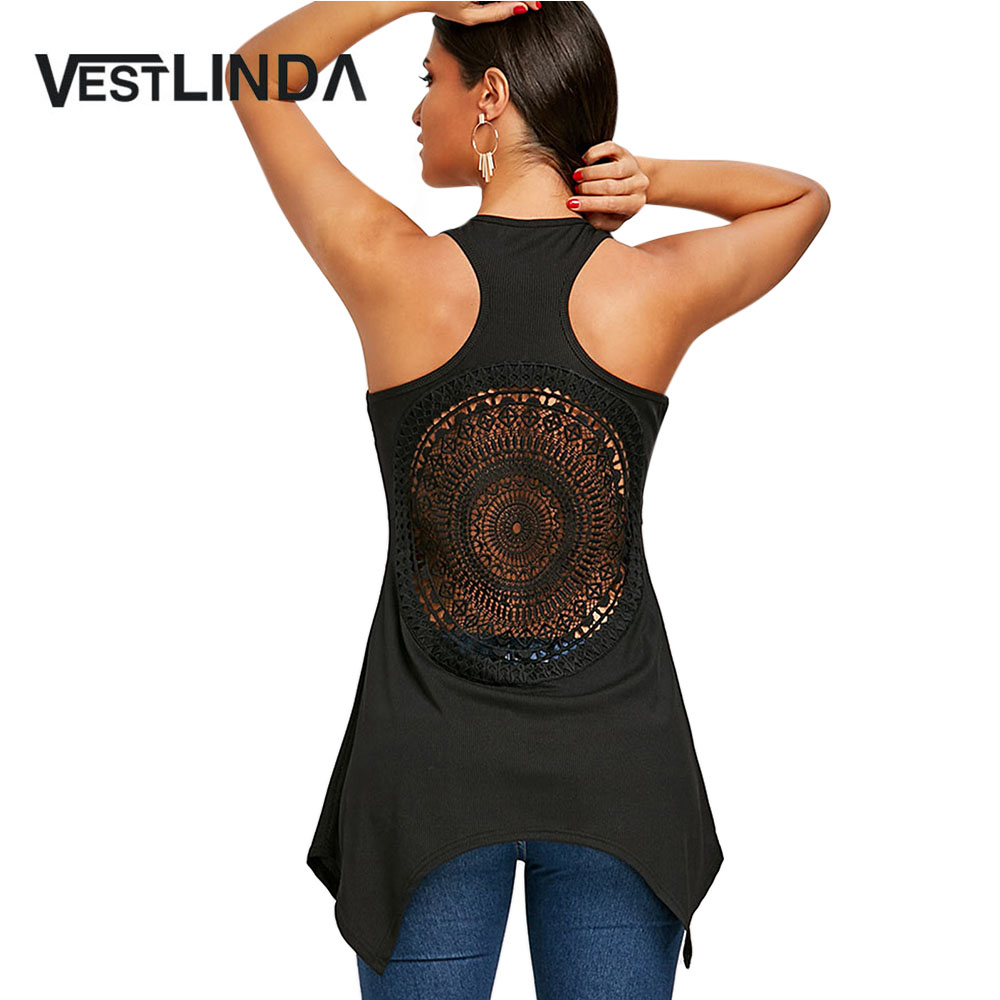 VESTLINDA Lace Cutwork Racerback Tank Top Summer Black Long Tops 2018 New Fashion Causal Women Tops Tees Female Ladies Clothes