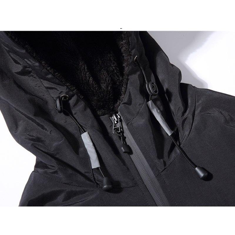Зимняя новинка, простой дизайн, Толстая теплая куртка с капюшоном для мужчин, черный, серый цвета, молодежная мода, свободные ветрозащитные ... - 4