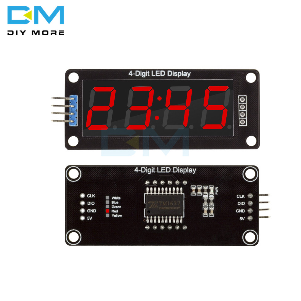 TM1637 Digital 4-Digit 0.56 RED LED Display Tube Decimal Clock Double Dots Module Board 0.56 Inch For Arduino 4PIN Diy Kit
