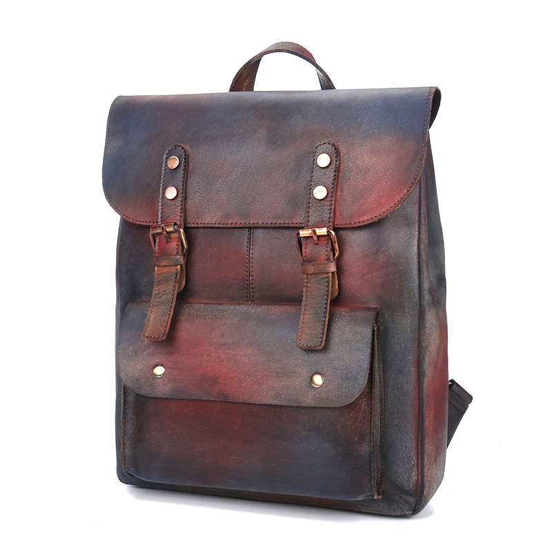 New Fashion Retro Handmade Backpack Leather Leather Casual Shoulder Bag Men and Women Universal Bag new genuine leather women oil nubuck retro women backpack casual backpack casual shoulder bag bucket bag a4625