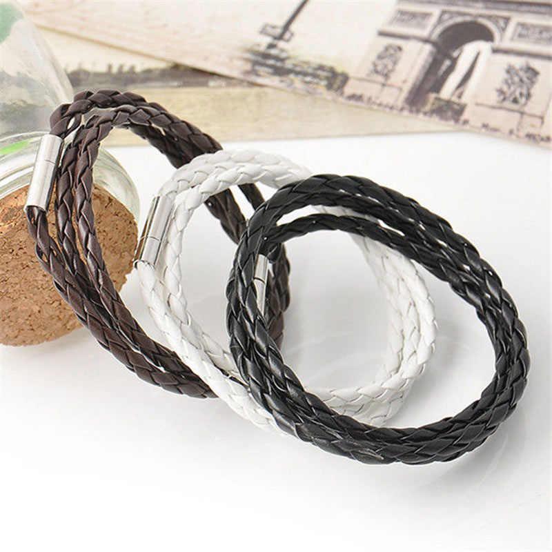 ファッションブラックホワイトブラウンレザーブレスレット用男性女性多層ブレスレット長いロープ黒糸ストリングハンド腕輪SL531