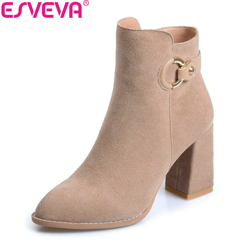 ESVEVA 2018 High Heels Women Boots Short Plush Boots Square Heels Elegant Chunky Pointed Toe Ankle Boots Ladies Shoes Size 34-39 esveva 2018 women boots zippers square high heels appointment warm fur pointed toe ankle boots chunky ladies shoes size 34 39