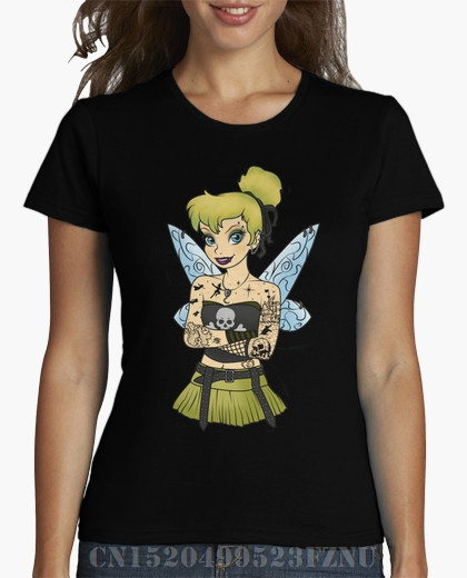 2018 Spring Favourite girl t shirt Punk Tinkerbell short O neck Print Knitted 3d tees girl Clothing