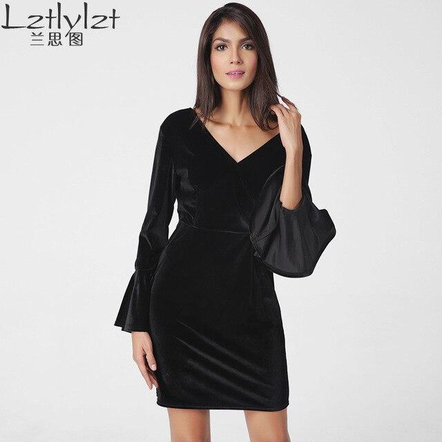 Lztlylzt 2017 осень-зима женщины бархатное платье дамы карандаш платья Sexy спинки Обтягивающая одежда модные женские шаг платье