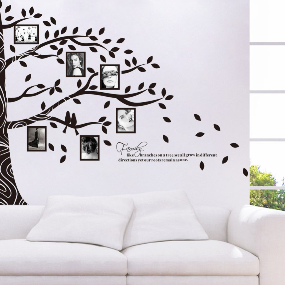 Large vinyl family tree photo frames wall decal sticker vine large vinyl family tree photo frames wall decal sticker vine branch removable wall decor in wall stickers from home garden on aliexpress alibaba amipublicfo Image collections