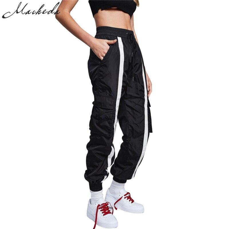 Macheda 2018 Klassische Schwarze Weiße Gestreifte Mode Taschen Elastische Taille Kordelzug Jogginghose Cargo Pants Women Hosen