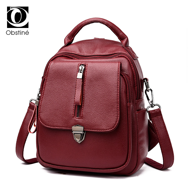 Soft PU Leather Backpack Women Black Backpacks for Teenage Girls To School Solid Fashion Bagpack Female Zipper Travel Back Pack