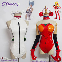 EVA Cosplay Ayanami Rei Asuka Langley Soryu Cat Suits Cosplay Costume Halloween Unifroms Dress Jumpsuits+Ears+Tail+Gloves+Socks