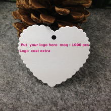 DIY Hand Made Garment Tag White Heart Tag Custom logo Cost Extra MOQ : 1000 PCS Garment Tag Heart Shape Mother Day Tag