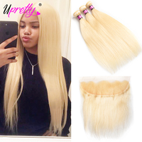 Upretty Hair Blonde Bundles With Frontal Closure Straight Peruvian Human Hair Bundles With Closure 613 Bundles With Frontal 4 pc