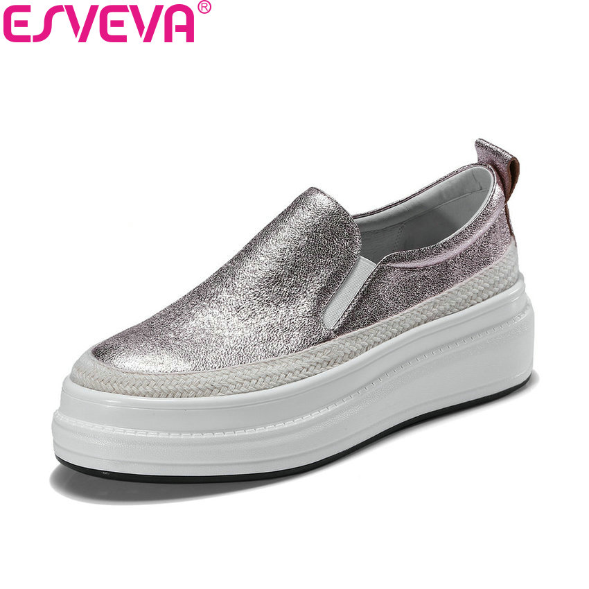 ESVEVA 2018 Women Flats Sheepskin PU Casual Flats Shoes Spring and Autumn Slip on Round Toe Ladies Loafers Shoes Size 34-39 odetina 2017 new women pointed metal toe loafers women ballerina flats black ladies slip on flats plus size spring casual shoes