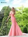 Rosa Vestidos de Noite Até O Chão de Cetim Longo Sexy Backless formal Desgaste vestidos de noite Sereia 2016 Made in China robe de sarau