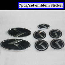 Fast shipping 7x black K logo fit KIA OPTIMA K5 car Wheel Centre Cap Emblem 3D sticker K Logo Hood Trunk Steering