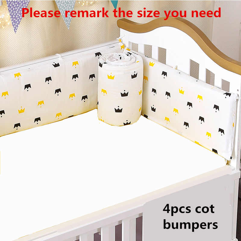 4 ชิ้น/เซ็ตเตียงกันชนชุดสำหรับทารกแรกเกิดหนาฝ้ายผ้าฝ้ายเด็ก Protector ซิปที่ถอดออกได้ Cot กันชนเครื่องนอนเด็กชุด