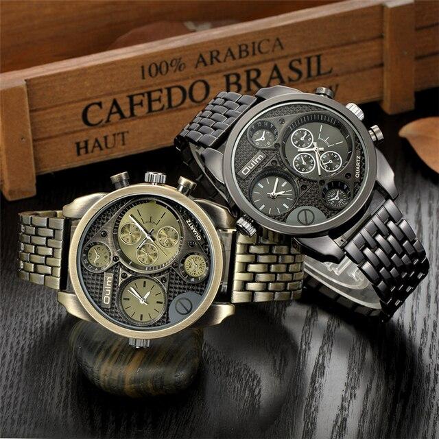 e5a3bf2edca Oulm Relógio De Quartzo Ouro Militar Completa Aço Relógios Grande Big Ouro  Mens Relógios Top Marca