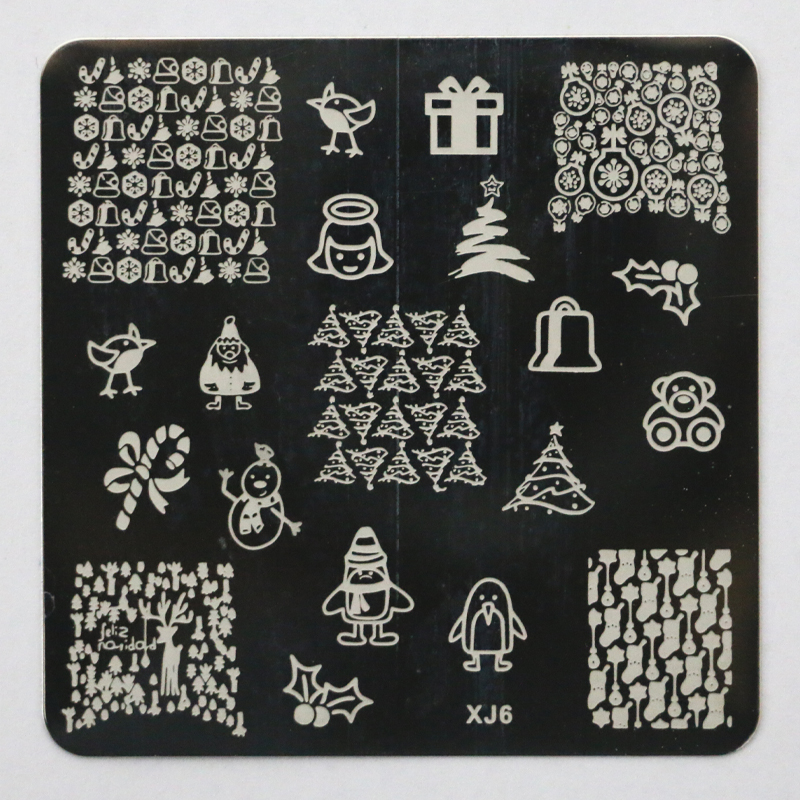 New XJ Series Christmas Patterns Nail Art Image Stamps Plates Konad Stamping Nail Art Decoration DIY Stencil Manicure Tools XJ06
