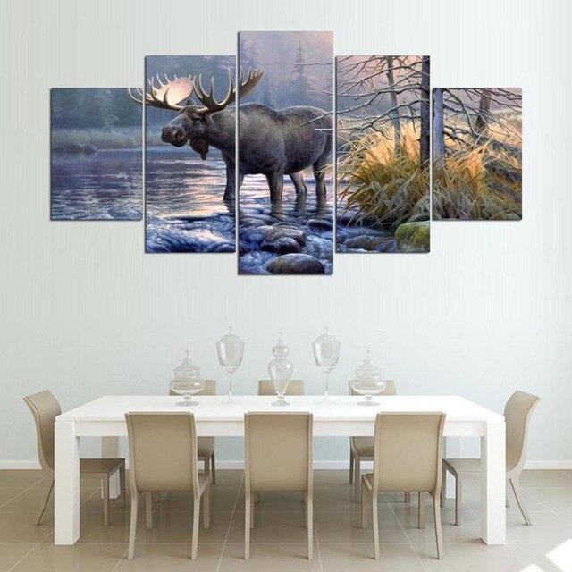 Muur Frame Canvas Woonkamer Abstract 5 Panel Moose Dier Lake ...