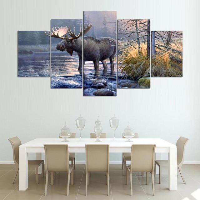 Wall Art Frame Canvas Living Room Abstract 5 Panel Moose Animal Lake ...
