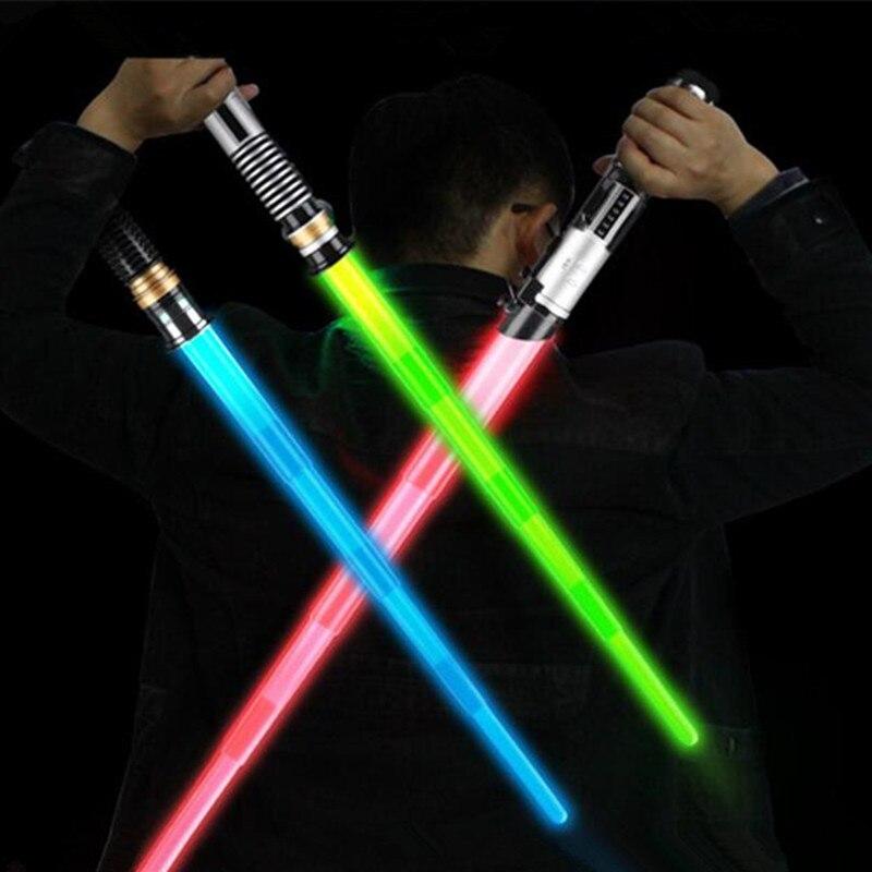 Espada Cosplay accesorios LED Star Wars espada láser al aire libre de los niños juguete luminoso telescópica juguetes regalo