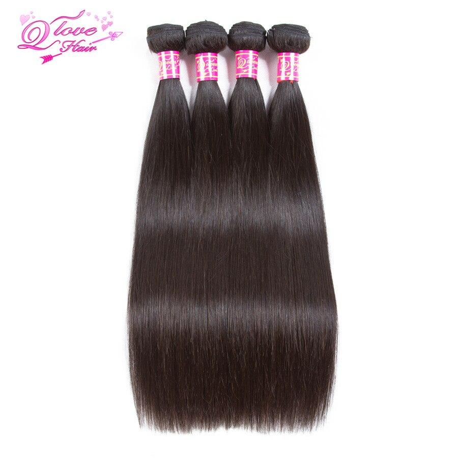 Queen Love Hair Peruvian Srtaight Wave Hair 4 Pcs/Lot 100% Human Hair Bundles Hair Weave Remy 8-26inch Natural Color
