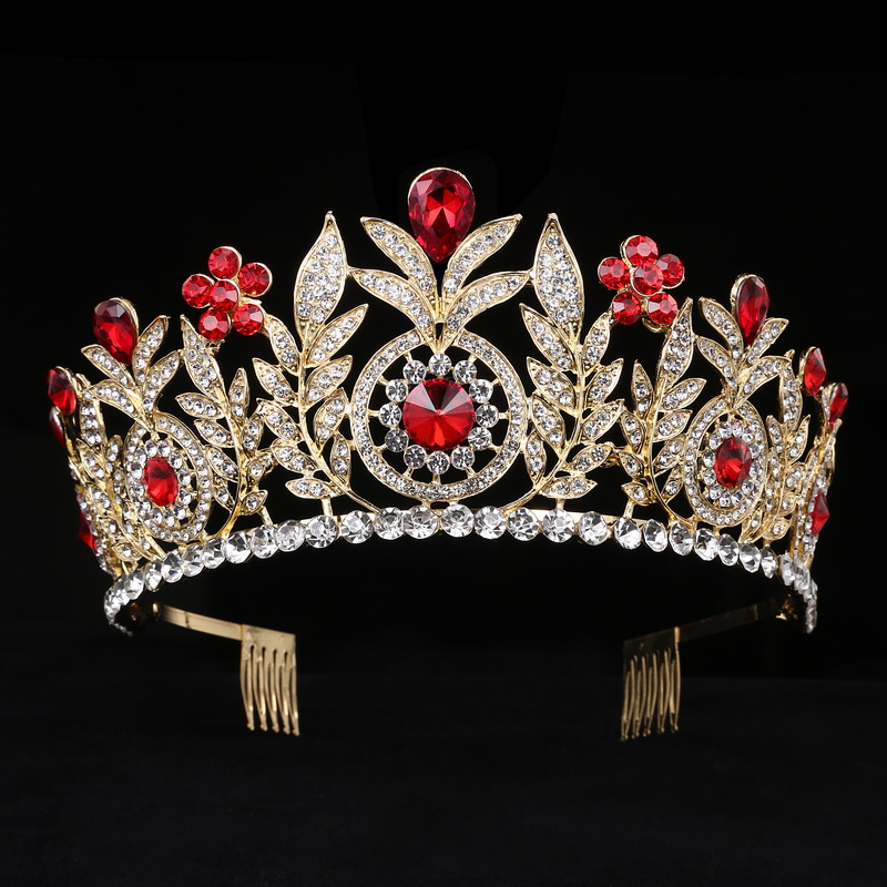 Large Crystal Tiaras Rhinestone Queen Crowns Wedding Hair Accessories Leaf headbands Diadem with combs hair jewelry
