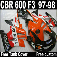 Motorcycle parts for HONDA CBR 600 F3 fairings 1997 1998 CBR600 F3 97 98 orange black REPSOL fairing kit O6