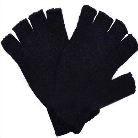 New Arrival!!! Winter Black Short Half Finger Fingerless Wool Knit Wrist Glove Warm Workout  For Women And Men 2018 Karachi