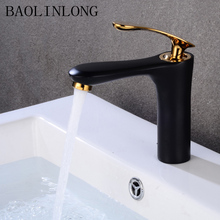 купить Black baking finish Brass Basin Faucets Deck Mount Crane Vanity Vessel Sinks Mixer Bathroom faucet tap дешево