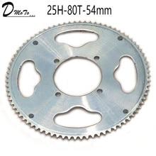 Задняя звездочка для 2-тактного двигателя 47 куб. См 49 куб. См, 54 мм, 80 зубьев, 25H, китайский мини-квадроцикл, квадроцикл, карманный велосипед, ск...