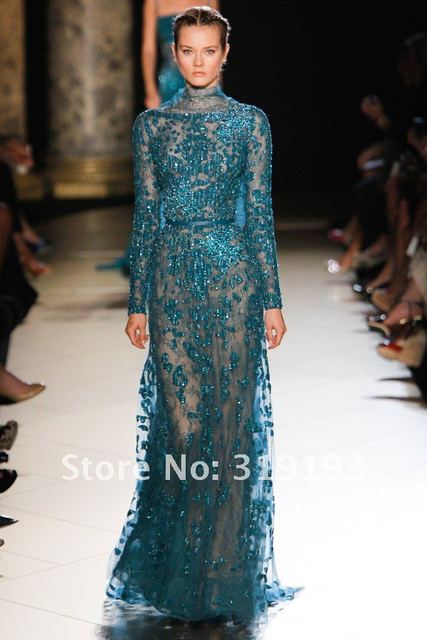 Gorgeous! Elie Saab Haute Couture 2013 Lace Tulle High Neck Long ...
