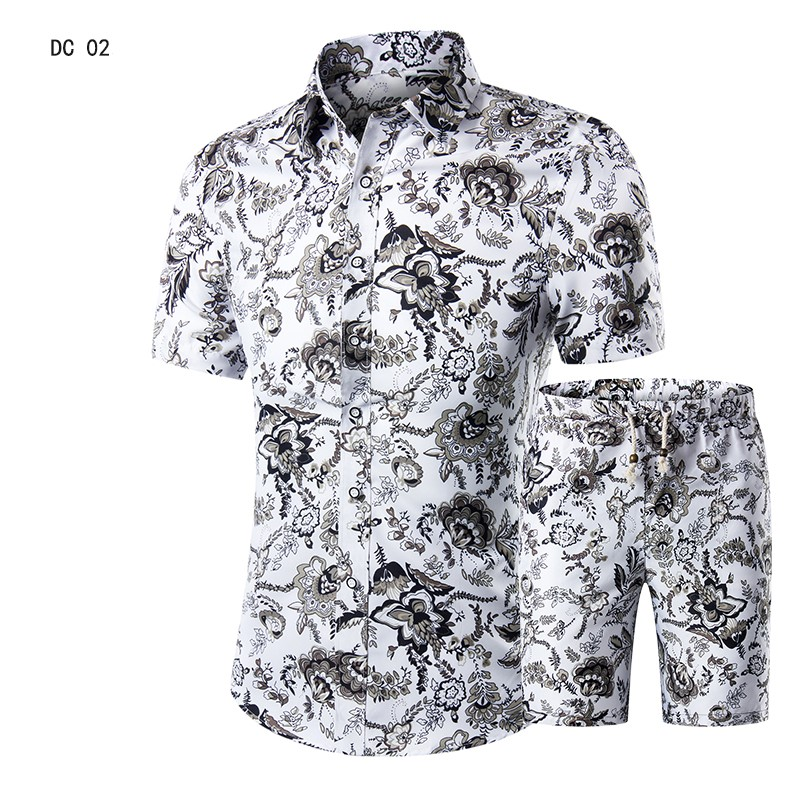 Casual Suit Mens Hawaiian Beach Summer Sets 2019 Brand Clothing Turn-Down Collars Business Tops Shirts+Shorts Fashion Mens Set