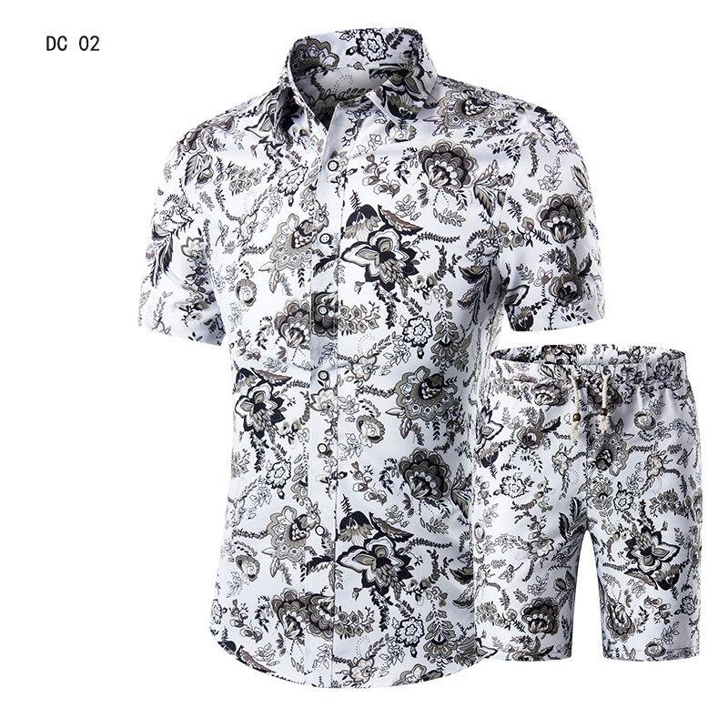 Casual Suit Mens Hawaiian Beach Summer Sets 2019 Brand Clothing Turn-Down Collars Business Tops Shirts+Shorts Fashion Mens Set