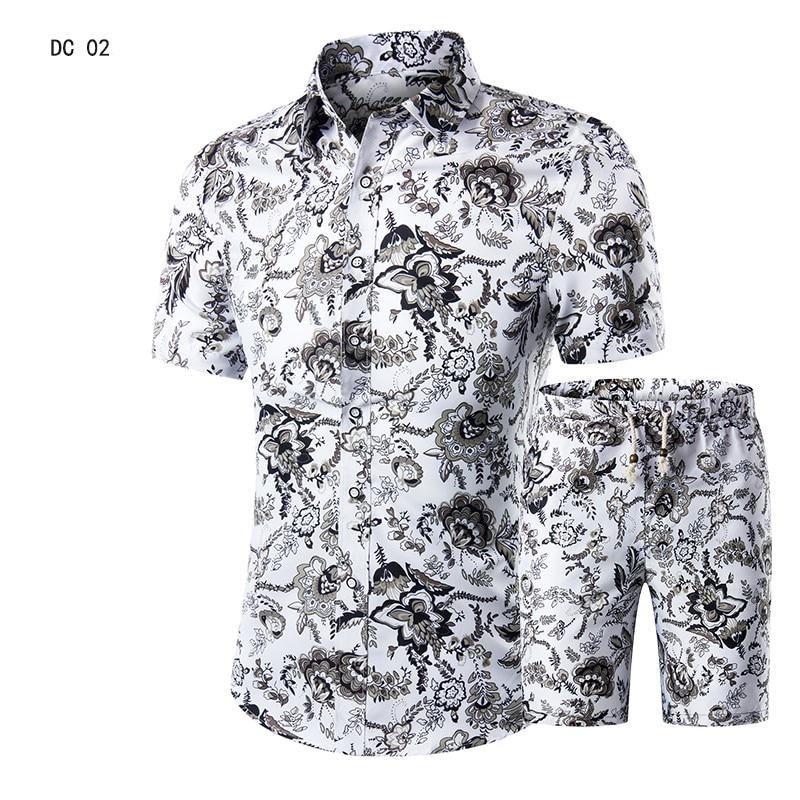 735292d19 Traje Casual para hombre Hawaiano playa verano conjuntos 2019 marca ropa  Turn-Down collares de negocios camisetas + pantalones cortos de moda hombre  ...