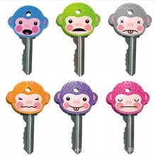 1 Pcs New creative cartoon keychain soft monkey key set PVC soft key protector monkey Epoxy key set key cover keychain(China)