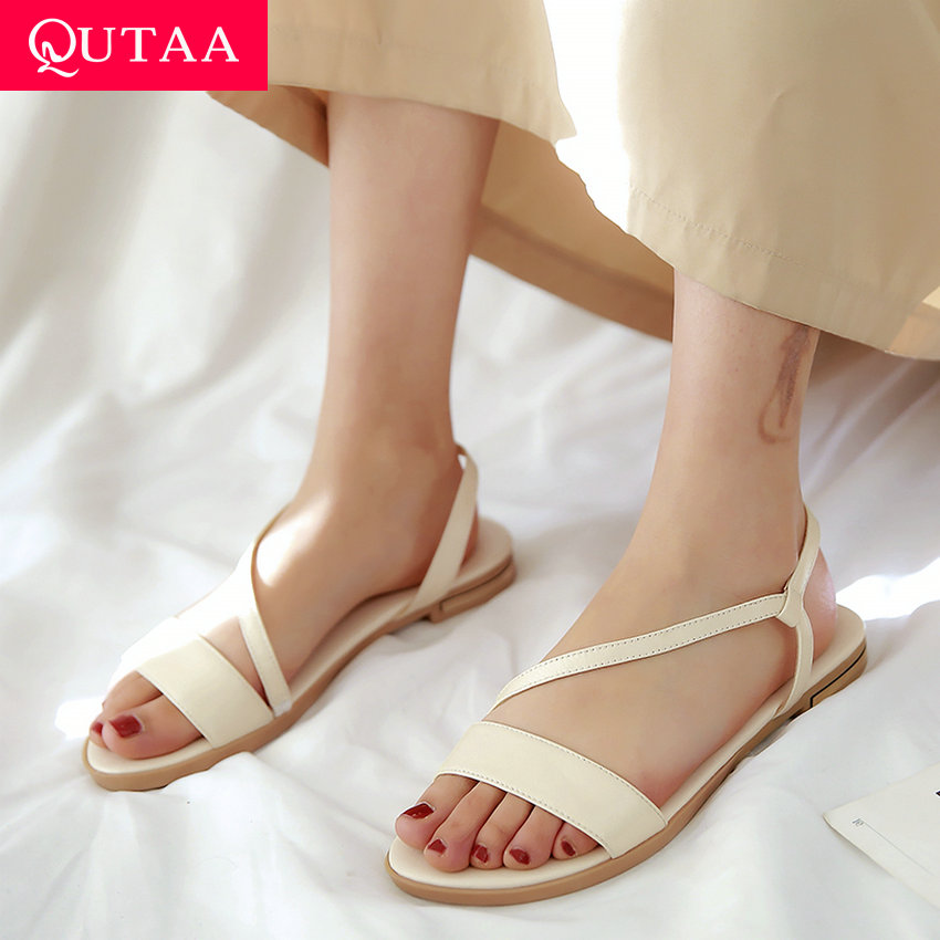 QUTAA 2020 Women Sandals Flat Heel Champagne Cow Leather+PU Round Open-toed Soft-soled Anti-skid Shoes Summer Concise Size 34-43